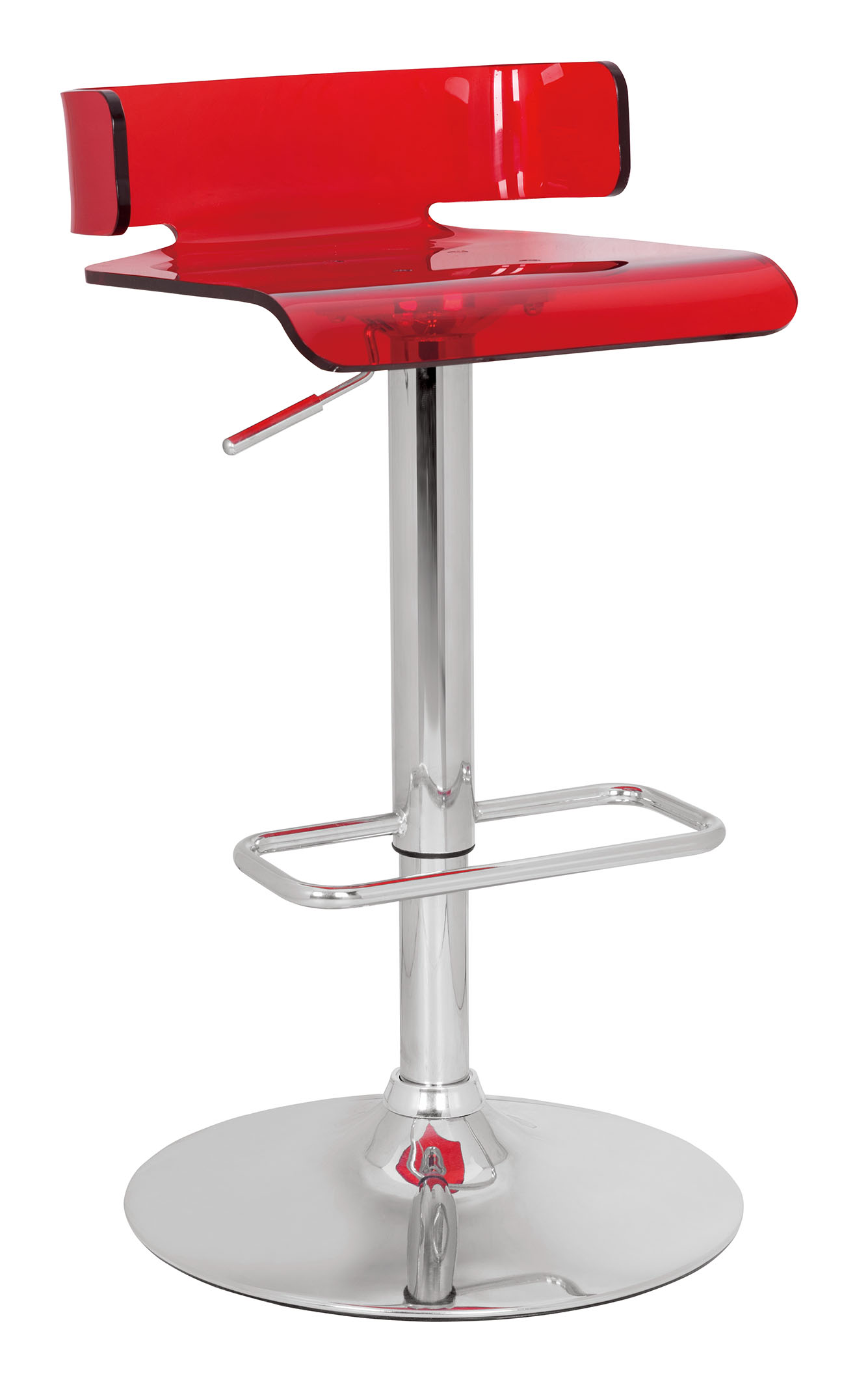 Adjustable Stool With Swivel, Red & Chrome - Abs (Acrylic Resin), Meta Red & Chrome