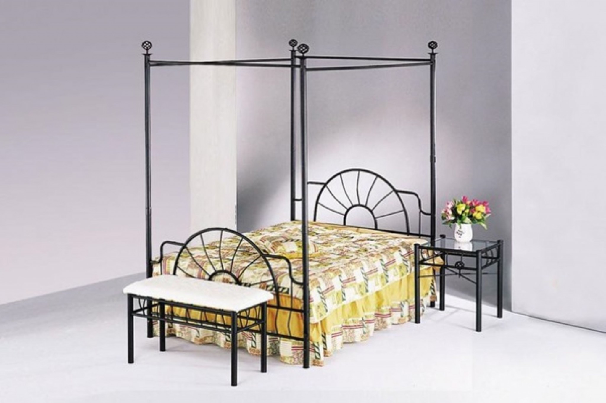 Queen Headboard And Footboard & Canopy (Rail Not Included), Sandy Black