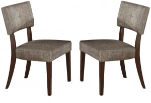 """20"""" X 20"""" X 36"""" 2pc Gray Fabric And Espresso Side Chair"""