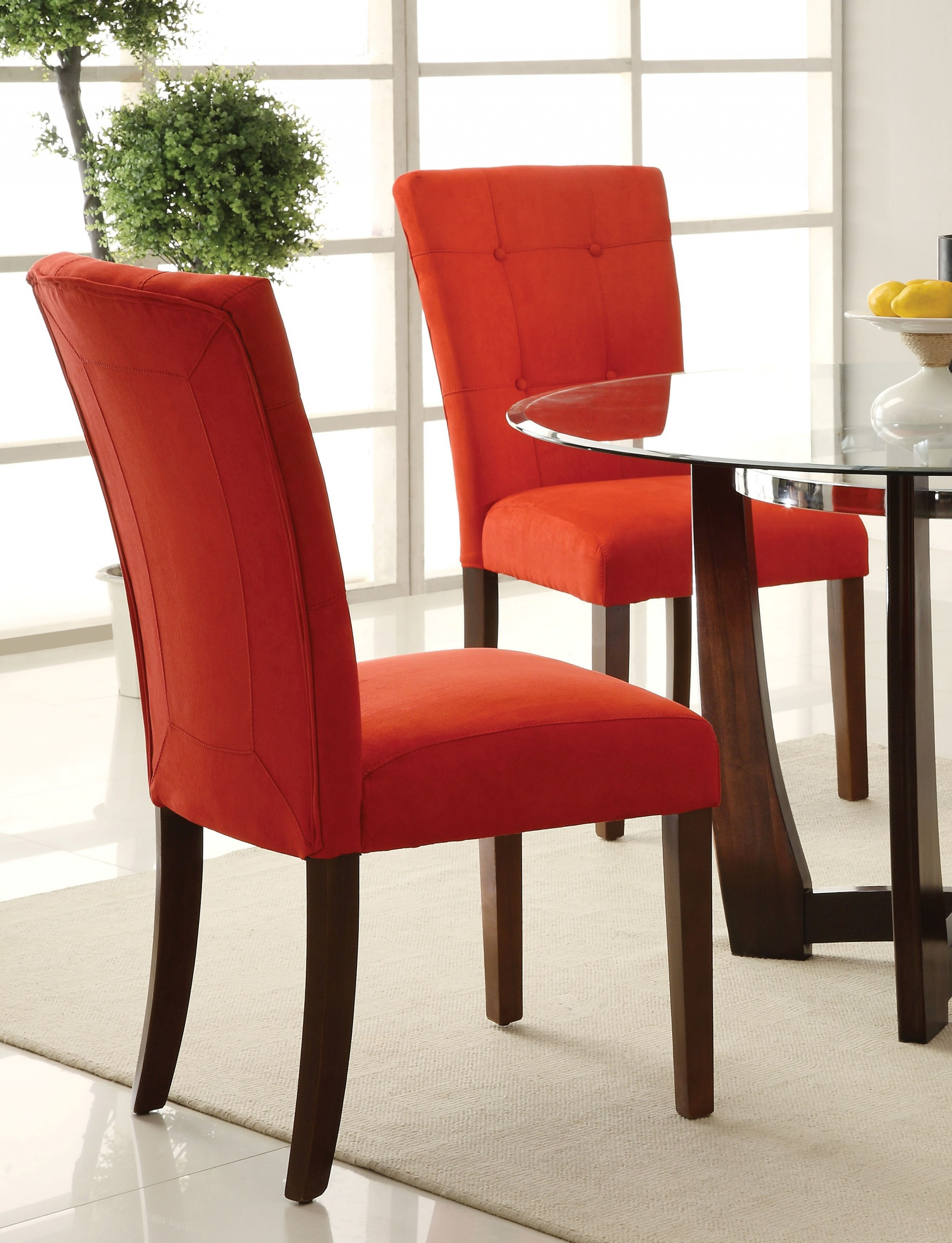 """19"""" X 25"""" X 40"""" 2pc Red Microfiber And Walnut Side Chair"""