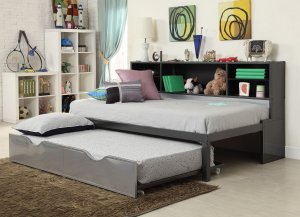"""79"""" X 50"""" X 39"""" Twin  Black And Silver Metal Tube Bed With Bookcase And Trundle"""