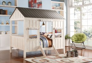 """84"""" X 59"""" X 77"""" Weathered White And Washed Gray Cottage Full Bed"""