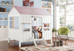 "84"" X 59"" X 77"" White And Pink Cottage Full Bed"