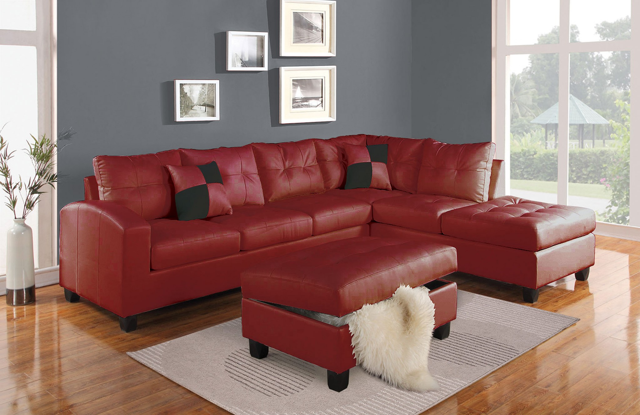 """78"""" X 33"""" X 34"""" Red Bonded Leather Reversible Sectional Sofa With 2 Pillows"""