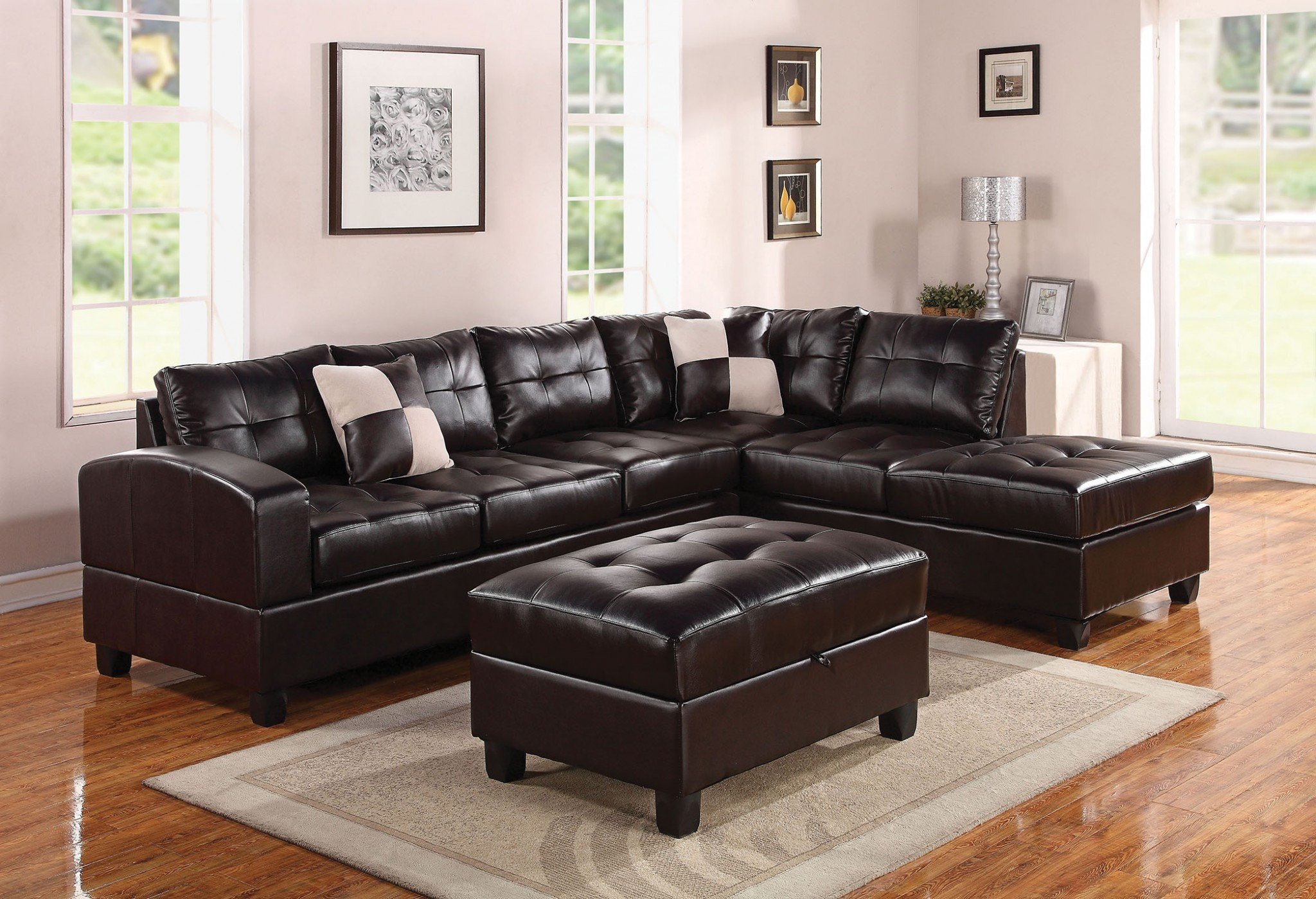 "111"" X 78"" X 34"" Black Bonded Leather Reversible Sectional Sofa With 2 Pillows"