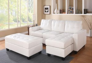 """83"""" X 57"""" X 35"""" White Bonded Leather Match Sectional Sofa With Ottoman"""