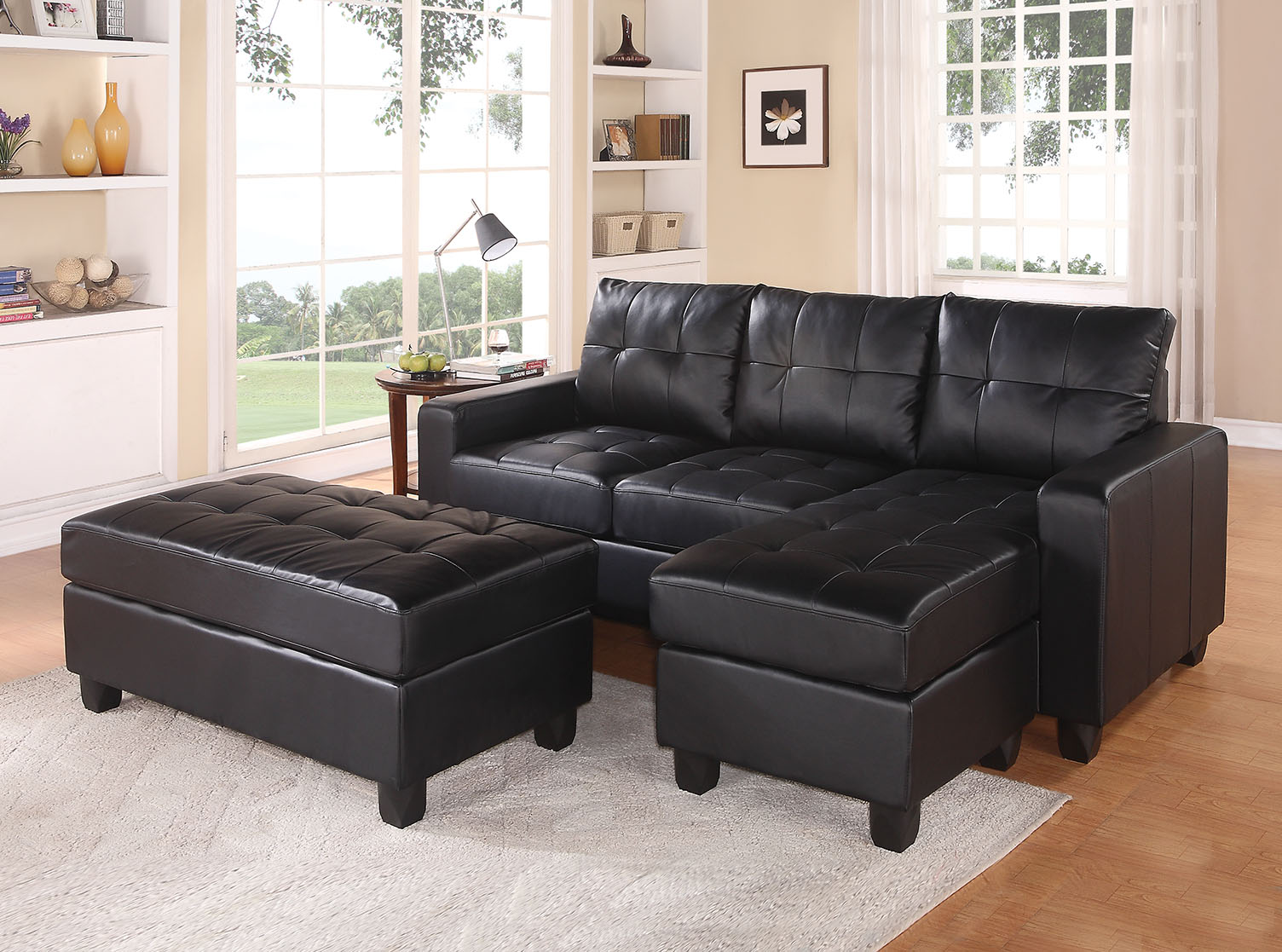 "83"" X 57"" X 35"" Black Bonded Leather Match Sectional Sofa With Ottoman"
