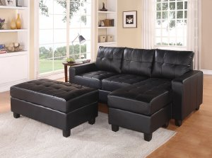 """83"""" X 57"""" X 35"""" Black Bonded Leather Match Sectional Sofa With Ottoman"""