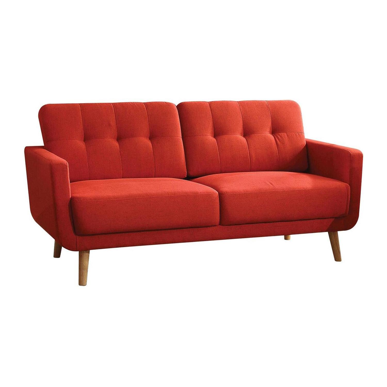 """74"""" X 31"""" X 35"""" Red Linen Sofa"""
