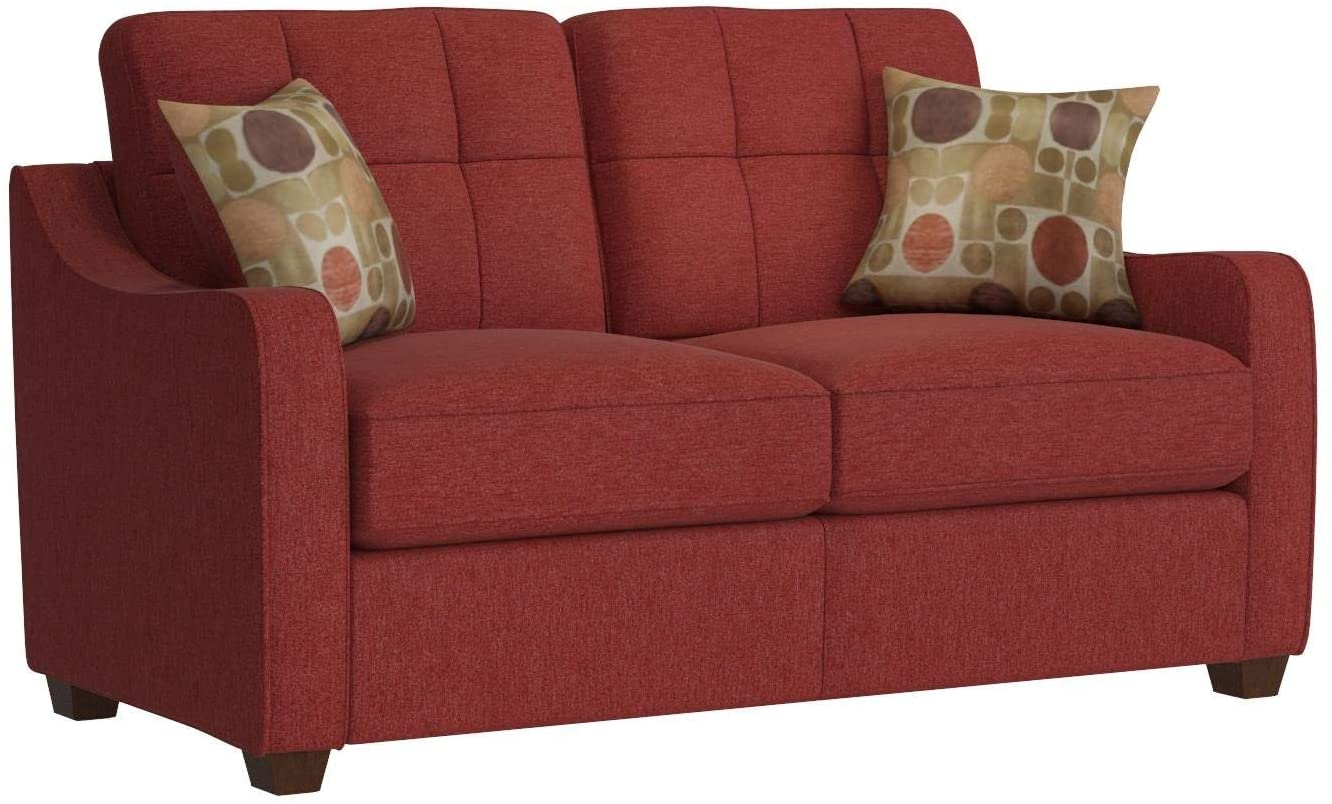 """59"""" X 31"""" X 35"""" Red Linen Loveseat With 2 Pillows"""
