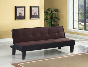 """66"""" X 29"""" X 28"""" Chocolate Flannel Fabric Upholstery Adjustable Couch"""