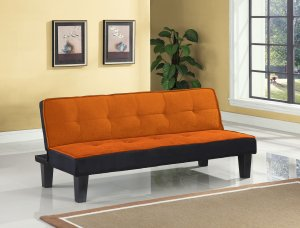 "66"" X 29"" X 28"" Orange Flannel Fabric Adjustable Couch"