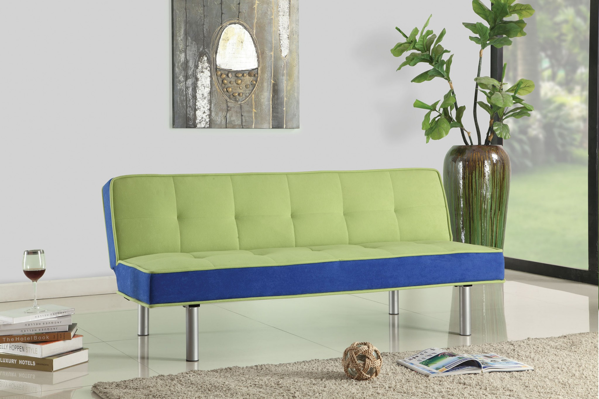 """66"""" X 18"""" X 29"""" Green And Blue Flannel Adjustable Couch"""