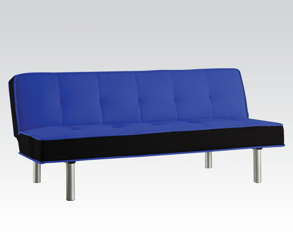 """66"""" X 18"""" X 29"""" Blue & Black Flannnel Adjustable Couch"""