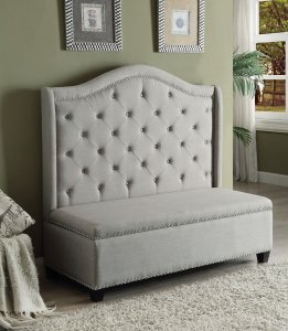 """54"""" X 22"""" X 50"""" Beige Fabric And Espresso Settee With Storage"""