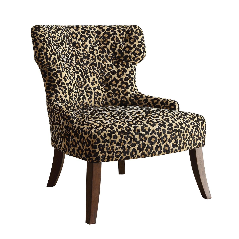 Accent Chair, Leopard Fabric & Espresso - Fabric, Rubber Wood Leopard Fabric & Espresso