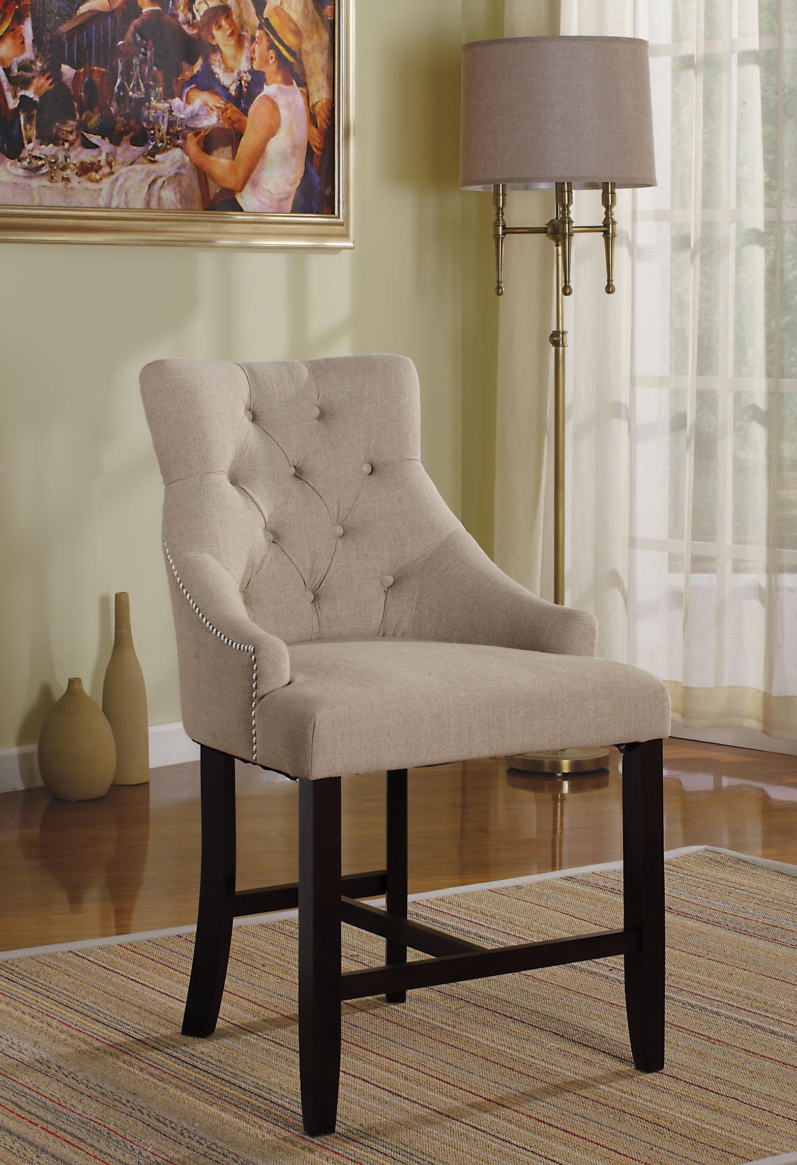 "25"" X 27"" X 41"" 2pc Cream Fabric And Walnut Counter Height Chair"