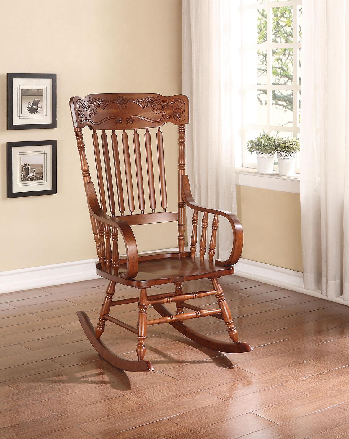 "25"" X 33"" X 45"" Tobacco Rubber Wood Rocking Chair"