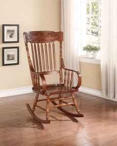 "25"" X 33"" X 45"" Tobacco Rubber Wood Rocking Chair"