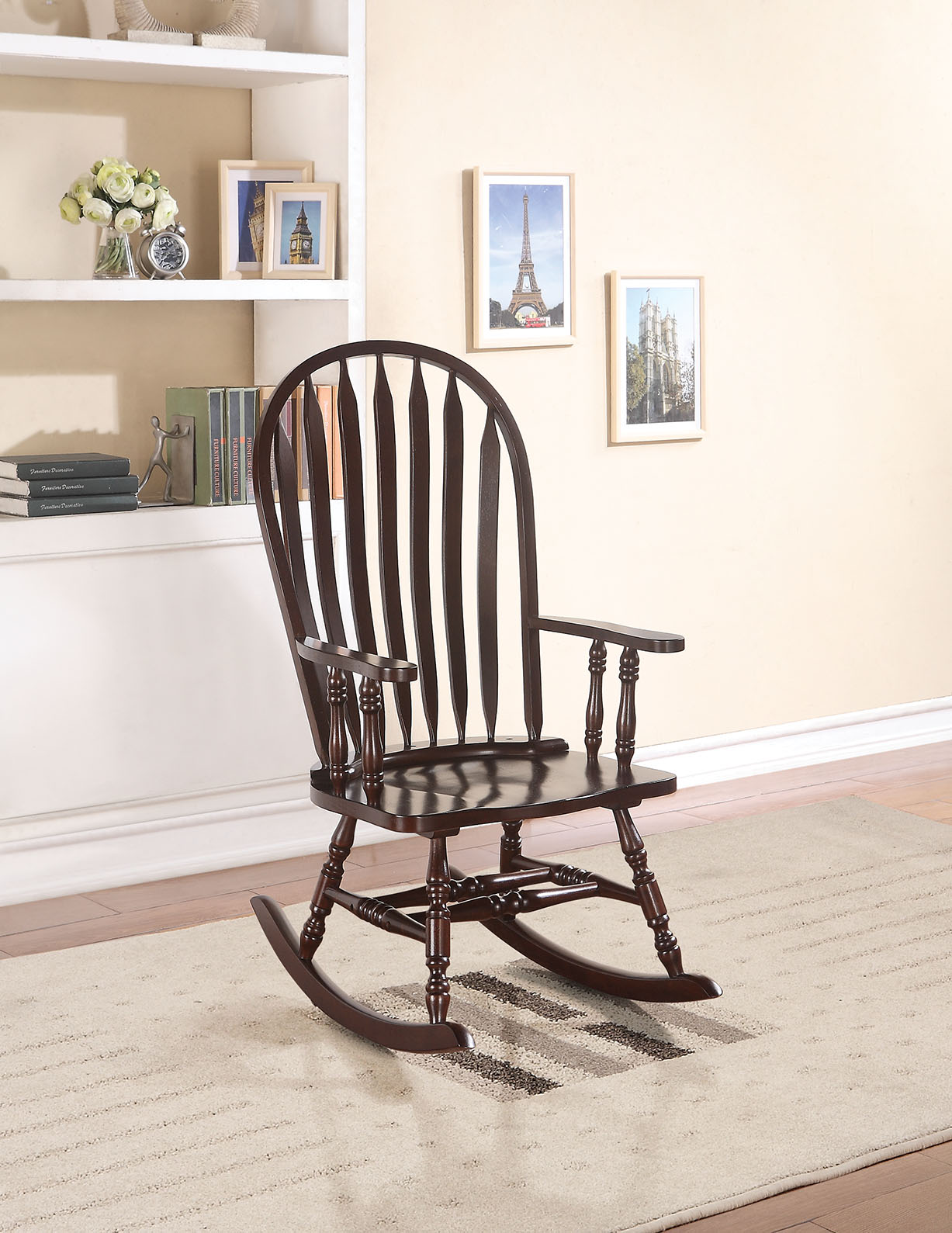 Rocking Chair, Cappuccino - Rubber Wood (Solid) & Ply Cappuccino