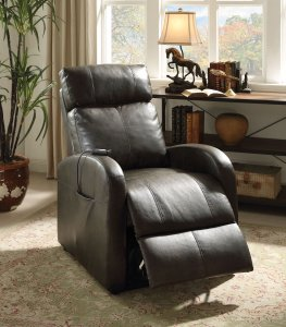 "28""  X 37"" X 40"" Dark Gray Pu Recliner With Power Lift"