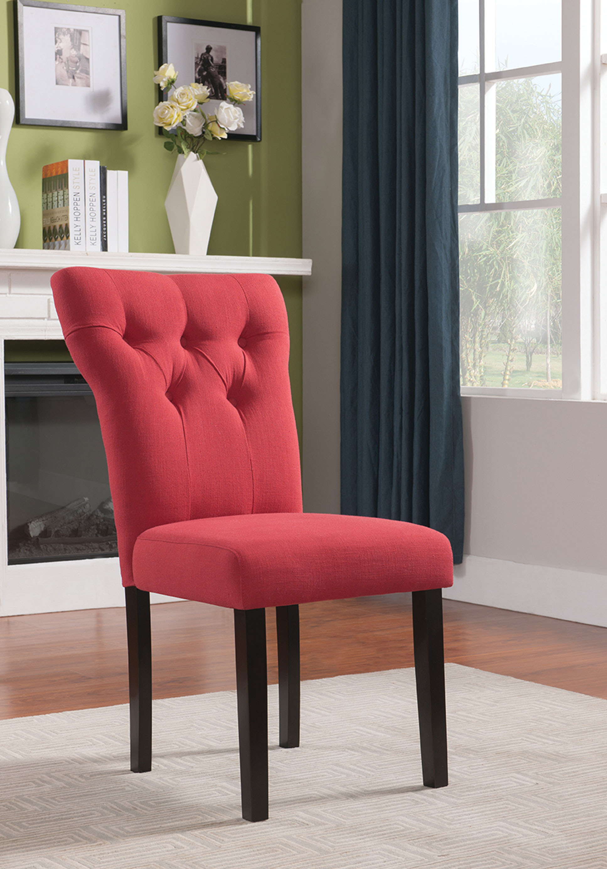 """26"""" X 21"""" X 39"""" 2pc Red Linen And Walnut Side Chair"""