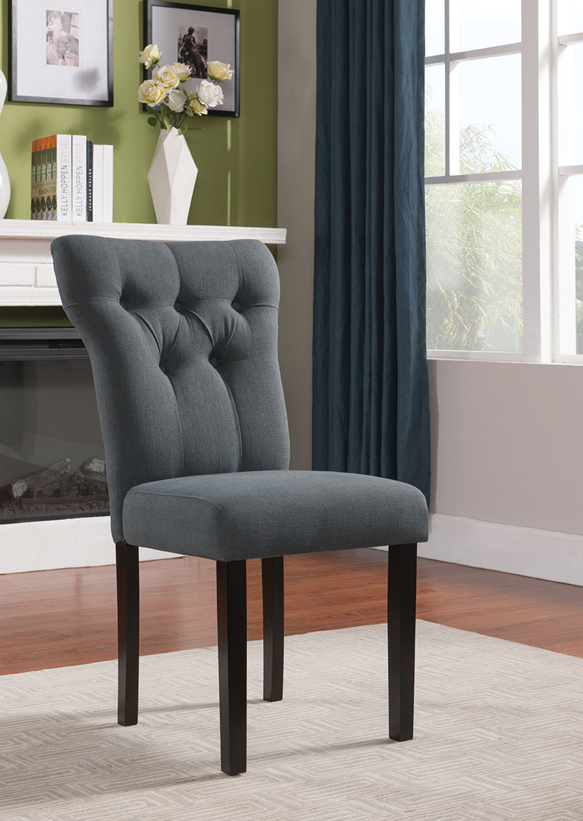 """26"""" X 21"""" X 39"""" 2pc Gray Linen And Walnut Side Chair"""