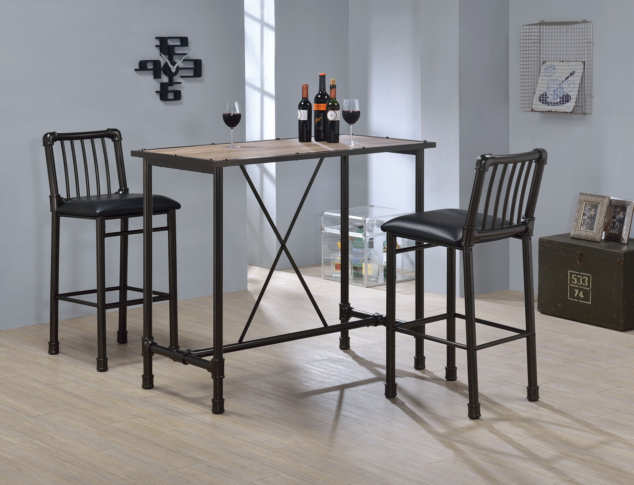 Bar Chair (Set-2), Black & Black