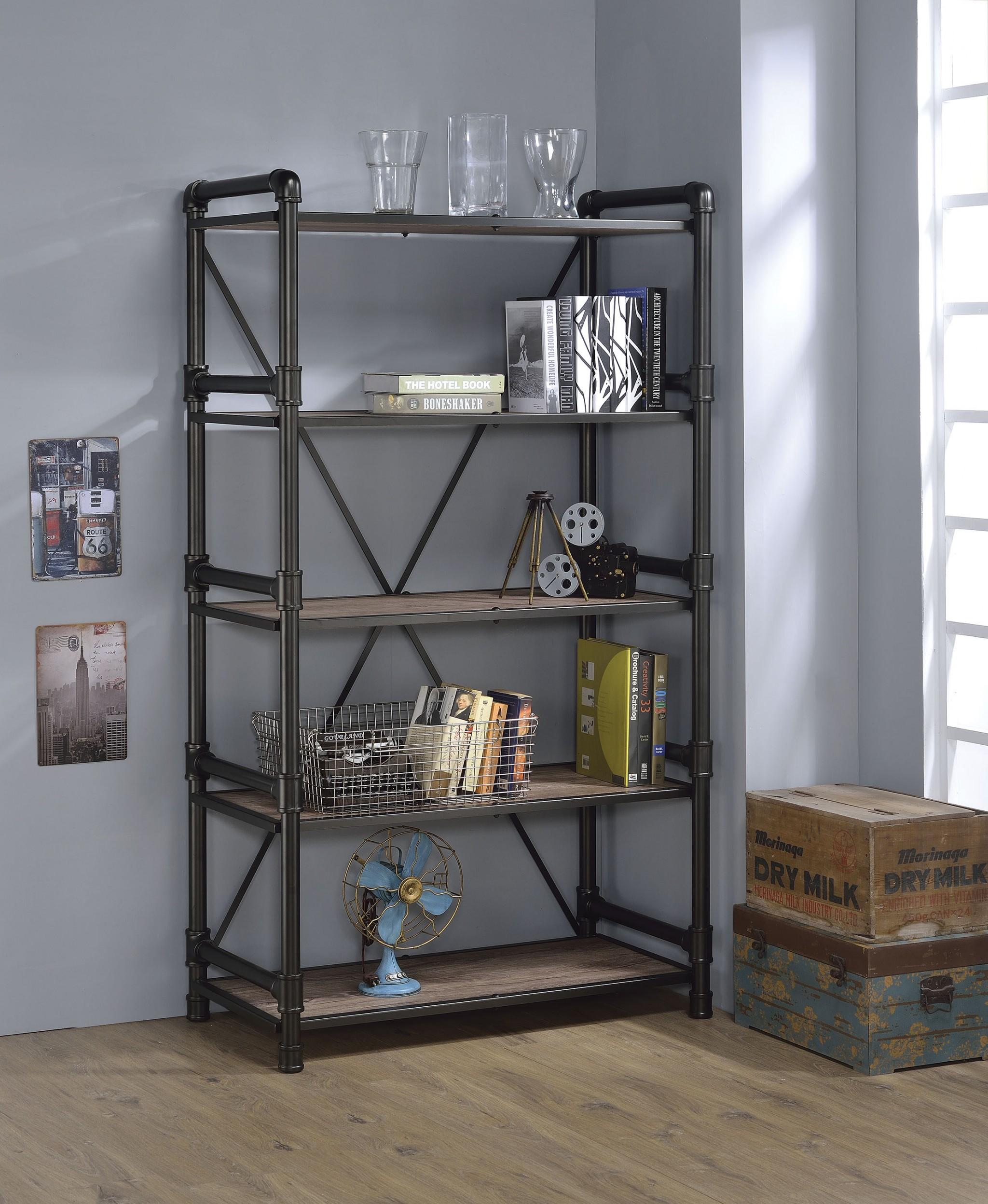 """40"""" X 22"""" X 72"""" Rustic Oak And Black Particle Board Bookshelf"""