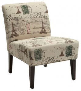 "30"" X 23"" X 33"" Fabric And Espresso Accent Chair"