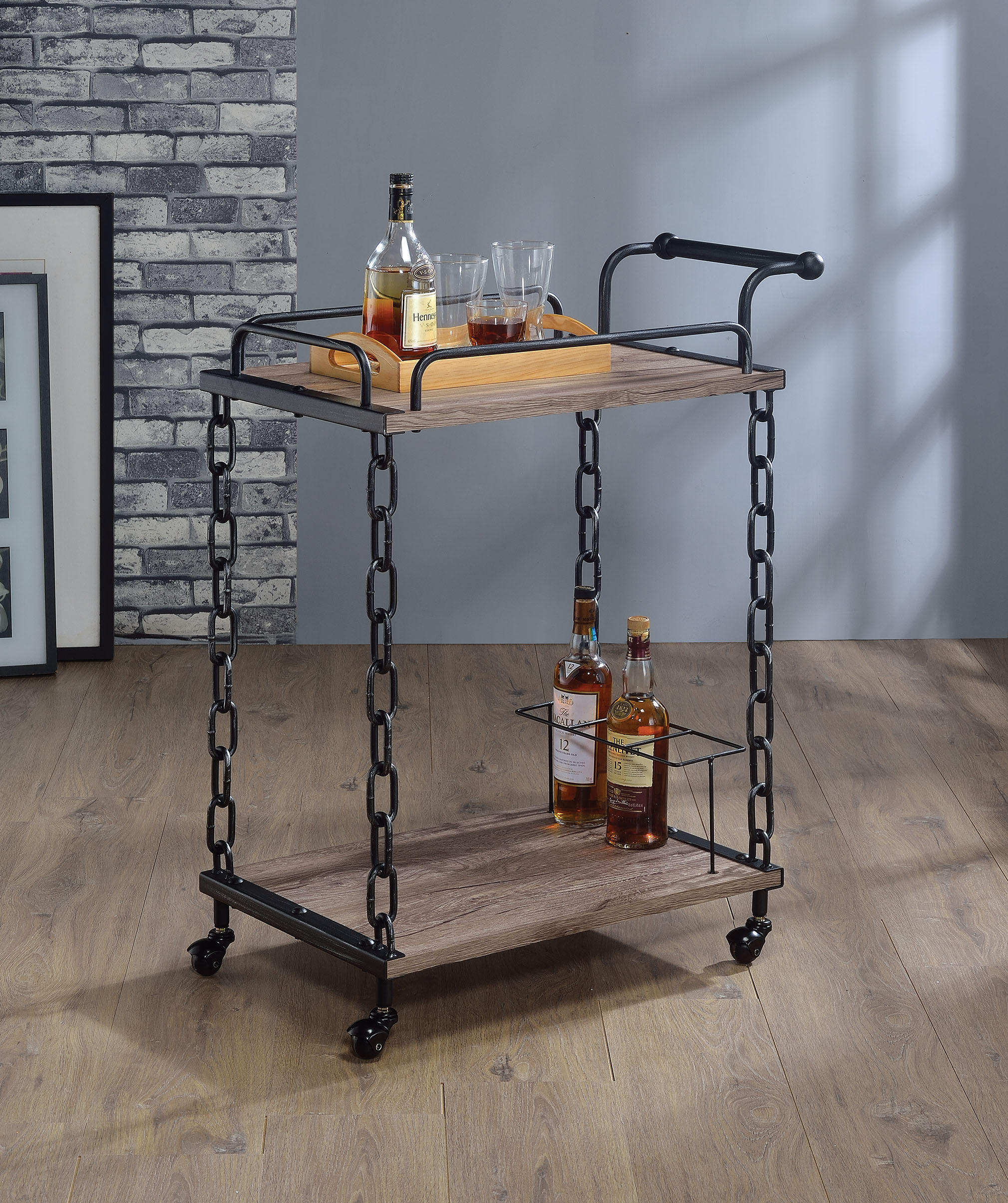 Serving Cart, Rustic Oak & Antique Black - Particle Board, Pvc Venee Rustic Oak & Antique Black