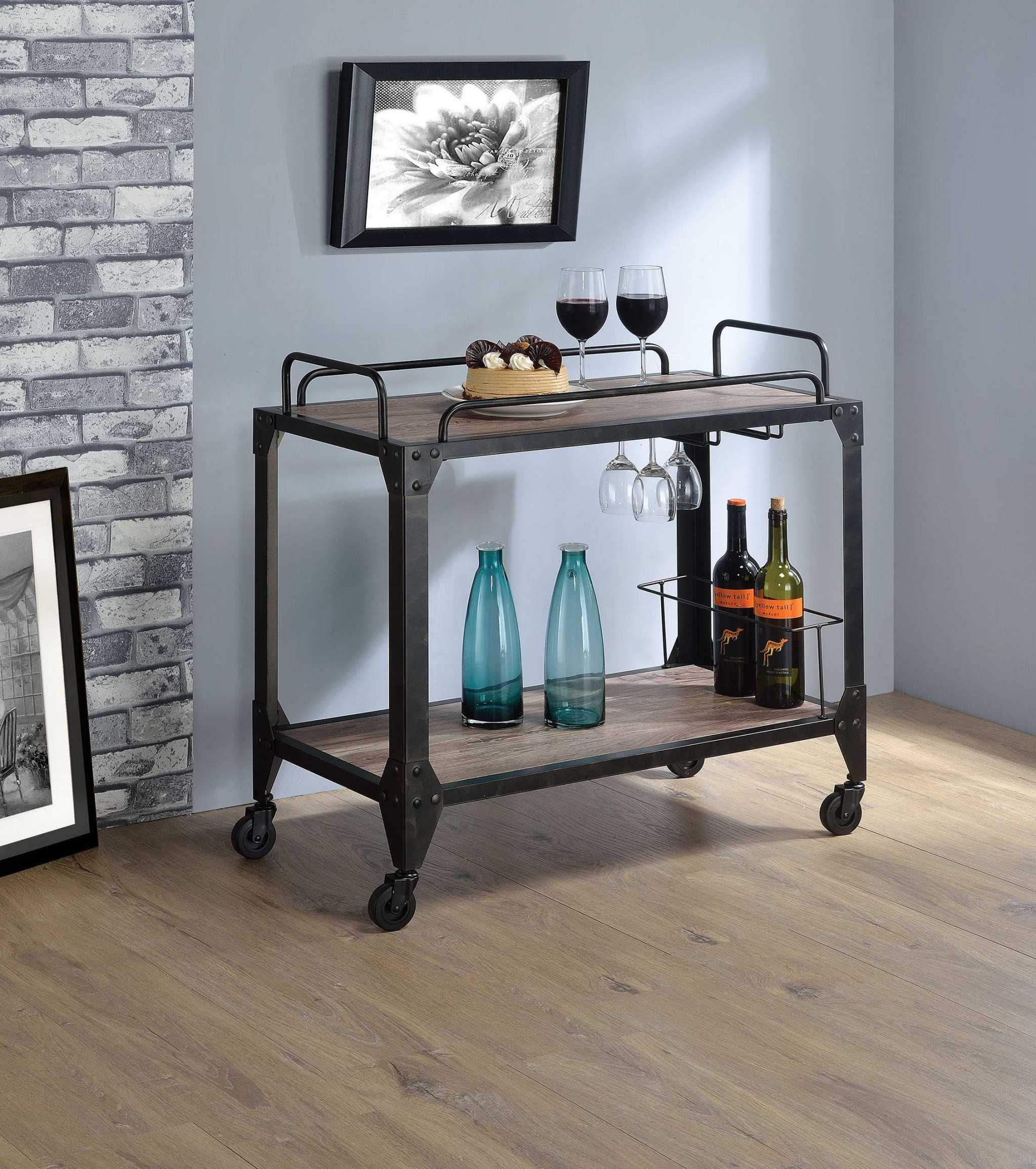 Serving Cart, Rustic Oak & Black - Particle Board, Melamine  Rustic Oak & Black
