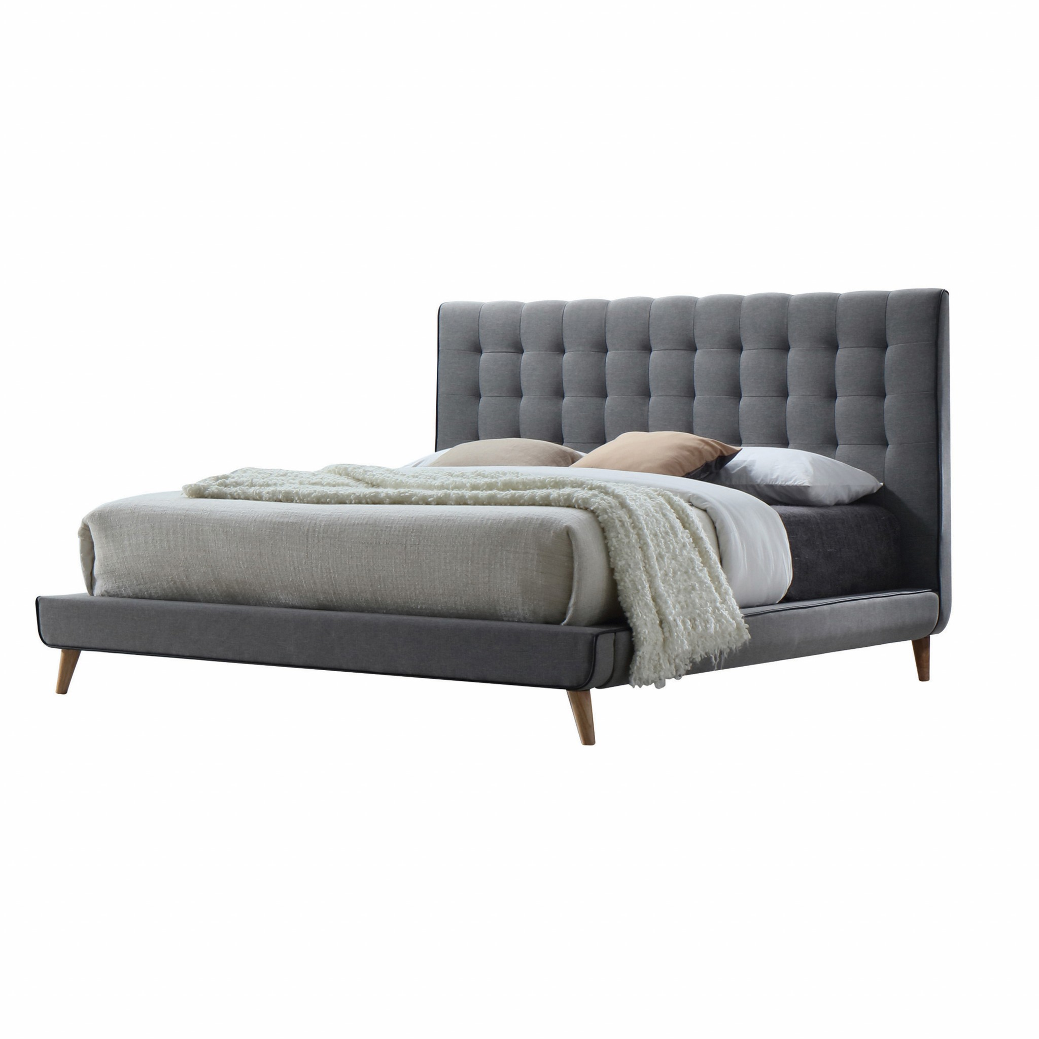 "89"" X 69"" X 46"" Queen Light Gray Fabric Bed"