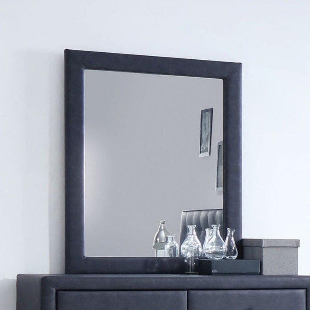 Gray Wooden Mirror Wood Frame Bedroom Wall