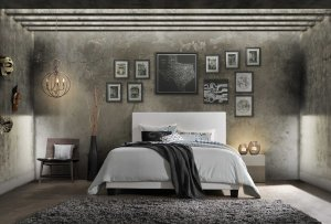 """85"""" X 64"""" X 47"""" Queen White Pu Bed"""