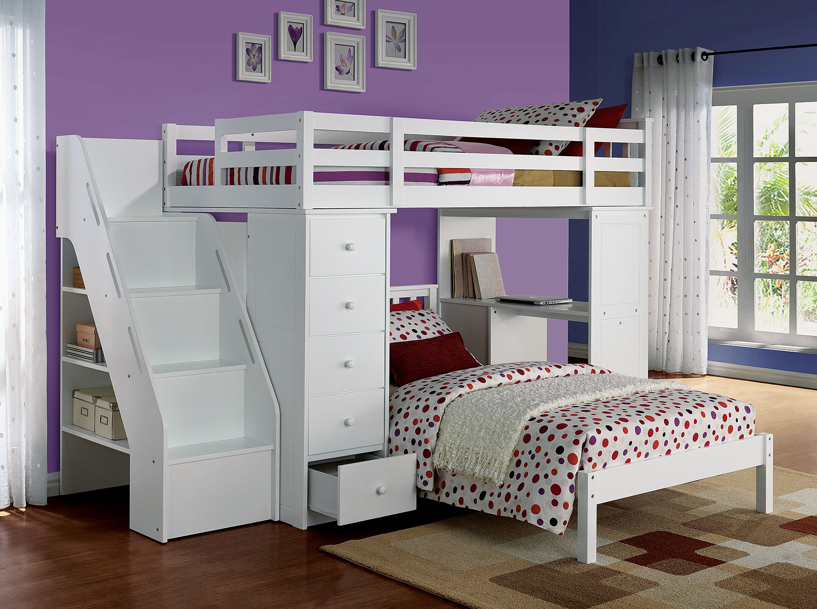"79"" X 42"" X 66"" White Solid Wood Loft Bed And Bookshelf Ladder"