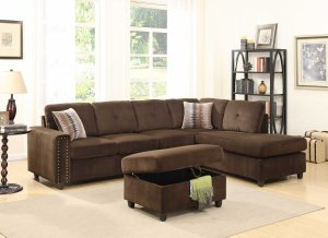 """79"""" X 33"""" X 36"""" Chocolate Velvet Reversible Sectional Sofa With Pillows"""