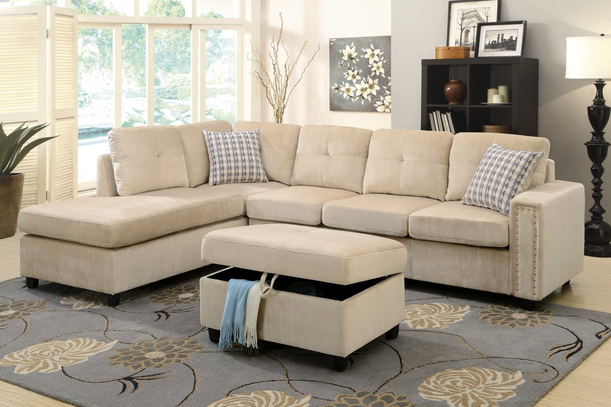 "78"" X 33"" X 36"" Beige Velvet Reversible Sectional Sofa With Pillows"