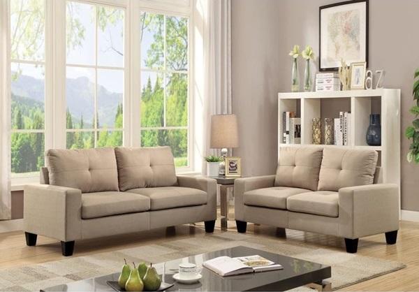 """71"""" Beige Linen Platinum  Sofa And Loveseat"""