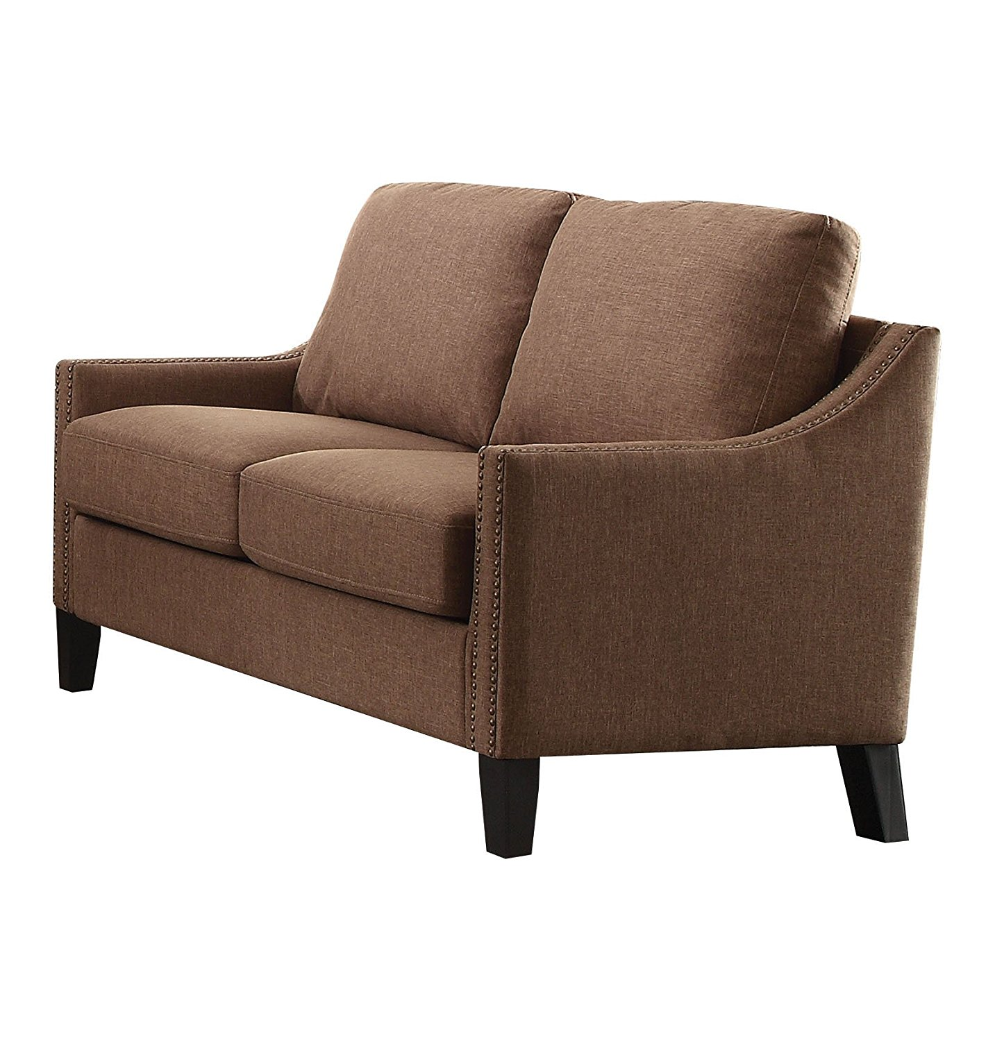 Loveseat, Brown Linen - Fabric, Wood Frame, Foam  Brown Linen