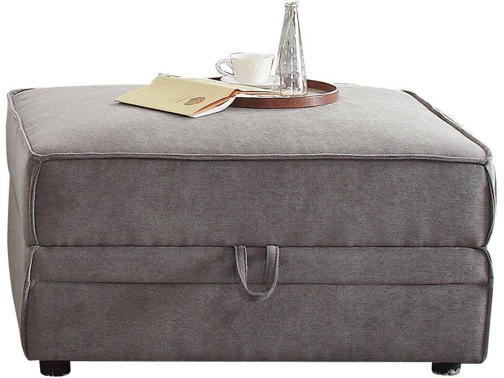 Ottoman With Storage, Gray Velvet - Velvet, Wood Frame, Foam Gray Velvet
