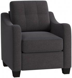 """30"""" X 31"""" X 35"""" Gray Linen Upholstery Chair"""