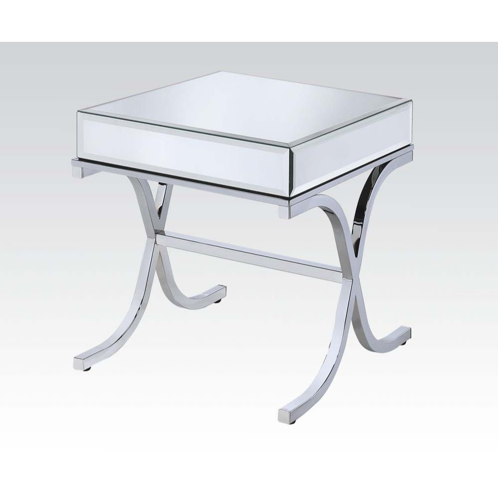 """21"""" X 21"""" X 22"""" Mirrored Top And Chrome End Table"""