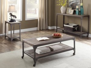 """24"""" X 14"""" X 25"""" Weathered Oak And Antique Silver End Table"""