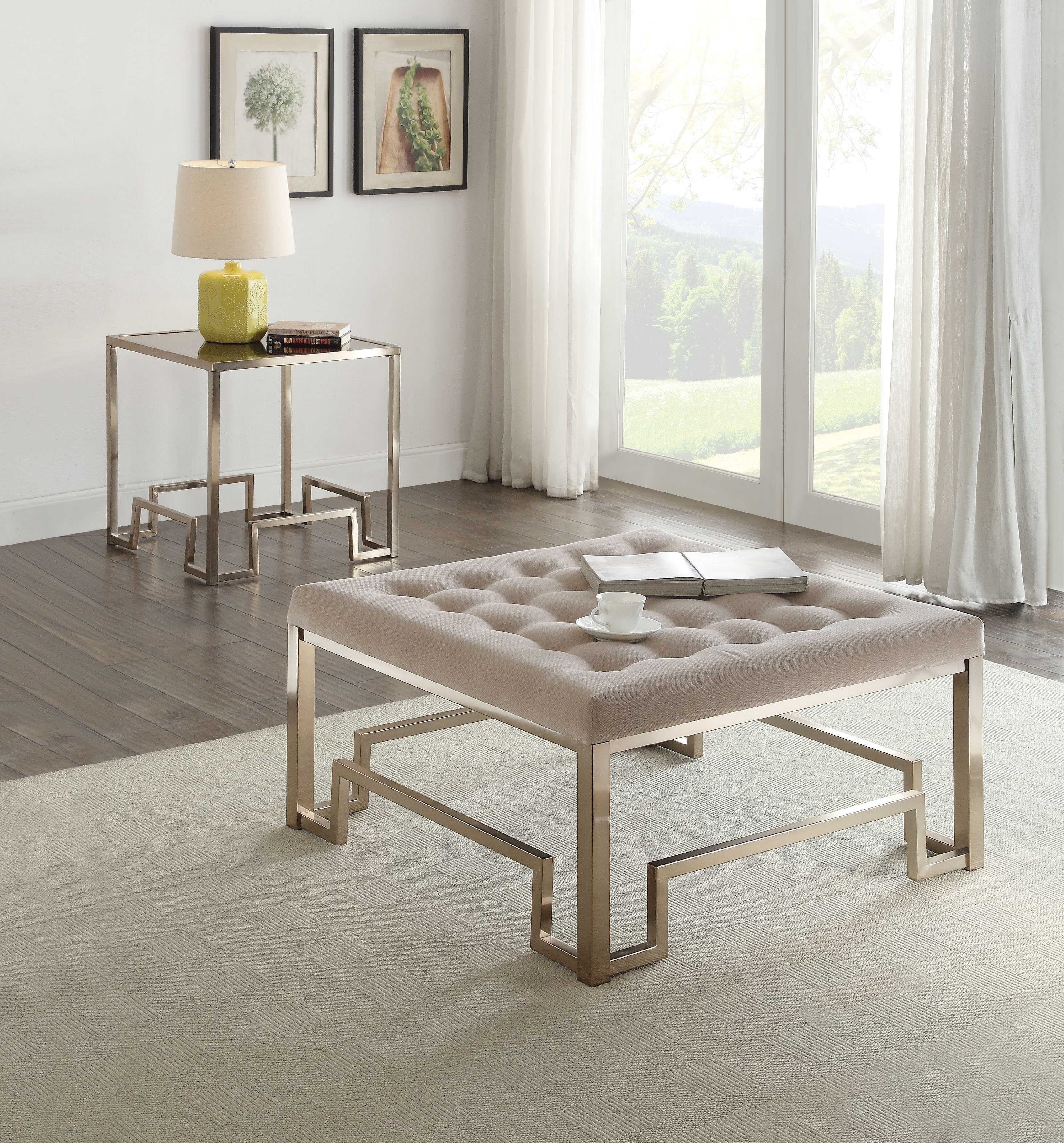 """24"""" X 24"""" X 24"""" Fabric And Champagne Clear Glass End Table"""