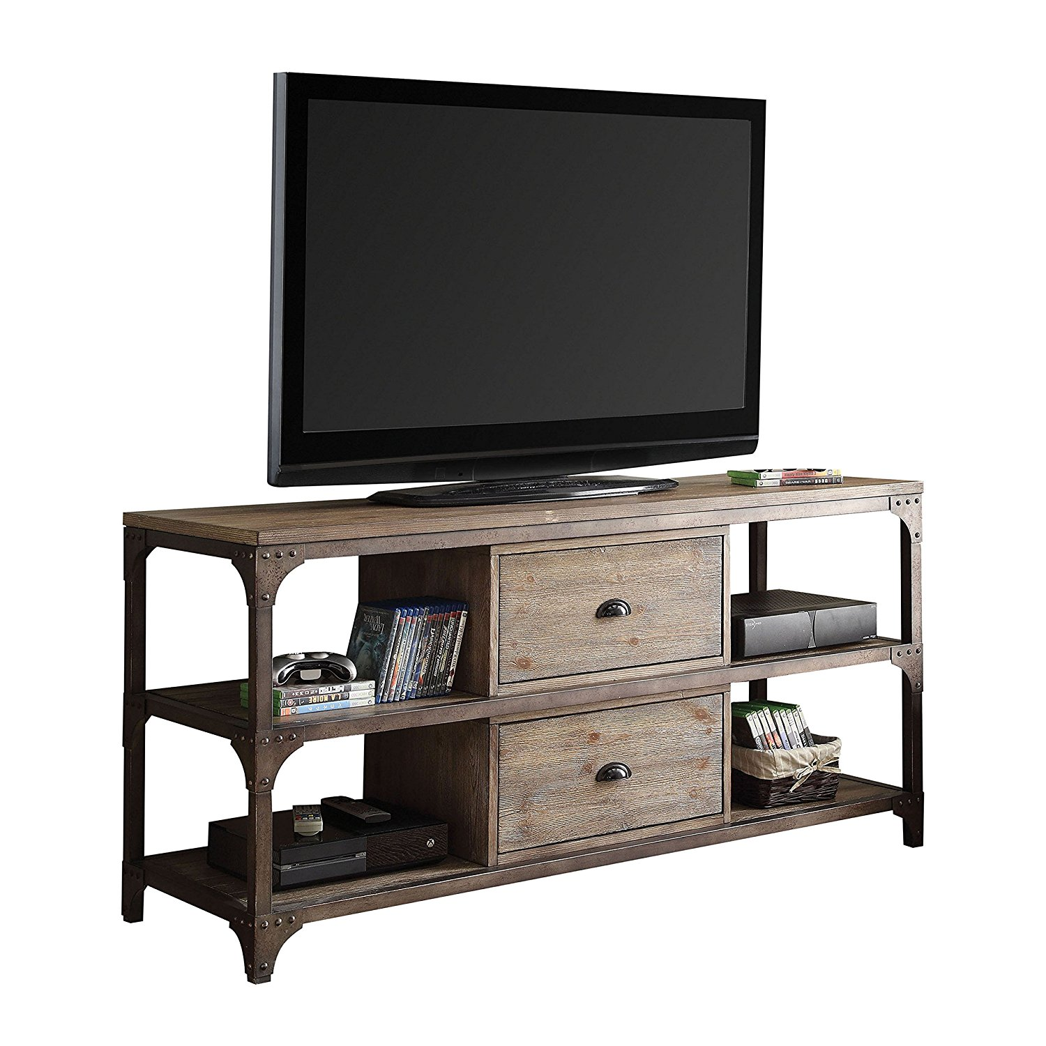 Tv Stand, Weathered Oak & Antique Silver - Pine Veneer, Mdf, Iron Fr Weathered Oak & Antique Silver