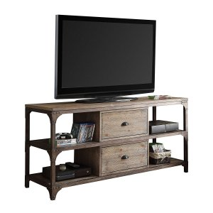 """60"""" X 20"""" X 30"""" Weathered Oak And Antique Silver Tv Stand"""
