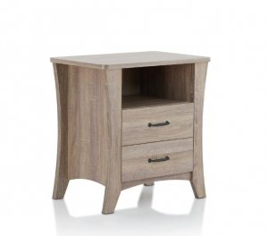 Updated Rustic Natural Wood Finish Nightstand