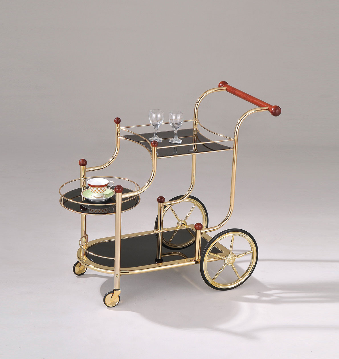 """38"""" X 21"""" X 33"""" Golden Plated And Black Glass Serving Cart"""