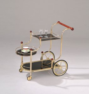 "38"" X 21"" X 33"" Golden Plated And Black Glass Serving Cart"